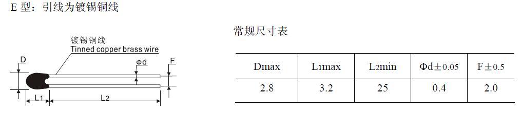 简介 MF52滴状测温型NTC热敏电阻器是采用环氧树脂包封的负温度系数热敏电阻器, 体积小, 精度高, 反应速度快, 性能稳定等特点;  特点 1. MF52 系列产品为径向引线树脂涂装型 2. 阻值范围宽:0.1~500K 3. 阻值及B 值精度高 4. 测试精度高 5. 体积小、反应速度快 6. 一致性好 7.